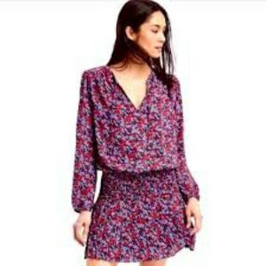 Gap Mix print long sleeve dress blue floral